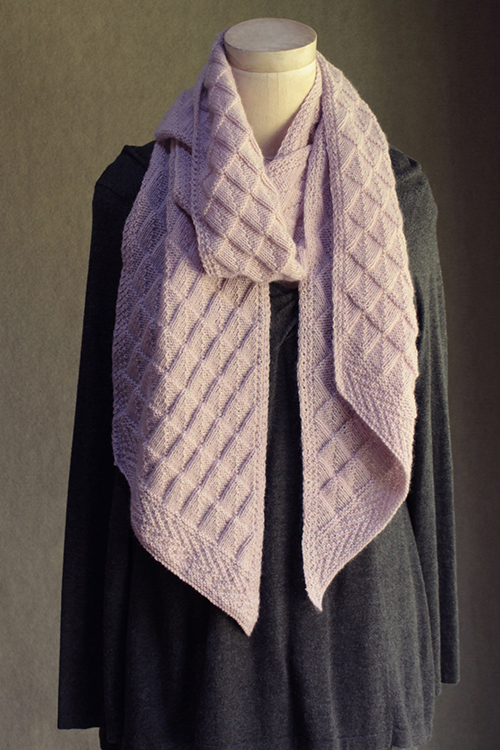 slanted gansey scarf knitting pattern, twisted ribs